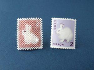 切手ブローチと切手